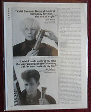 1986 Print Ad Lot of 5 Vidal Sassoon Hair Care Shampoo ~ Andy Warhol, Lundquist