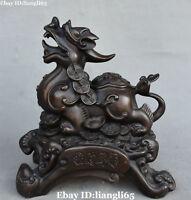 Chinese Reine Bronze Reichtum Yuanbao Ru Yi Bixie Pixiu Tapferen Truppen Statue