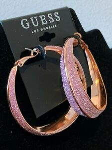 BNWT GUESS EARRINGS Rose Gold & Pink Glitter Party Statement Hoops AUTHENTIC