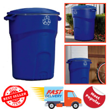 Outdoor Trash Can Recycling Bin 32 Gal Blue Snap-Fit Lid Sturdy Base Bag Cinch