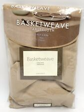 """Basketweave Easy Care Tablecloth 60"""" Round in Birch"""