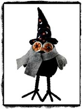 Primitive Standing `Black Witch `Owl` Witch Hat`Posable Feet` 22 inches Tall