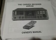 Carver AVR100 Receiver Owner's Manual.Copy in very good condition