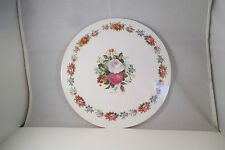 Vintage Round Cake Plate Cheese Platter PInk White Roses
