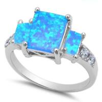 Radiant Cut Blue Opal & Cz .925 Sterling Silver Ring Sizes 5-10