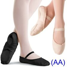 Pink & Black CANVAS Ballet Dance Shoes split suede sole Children's & Adults (AA)