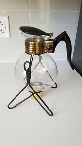 Vintage MCM Cory Glass Coffee Carafe Tilting warmer Mid century Retro 1960s