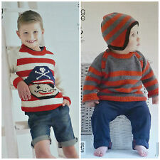 KNITTING PATTERN Boys/Baby Pirate Design Striped Jumper & Hat DK King Cole 3917