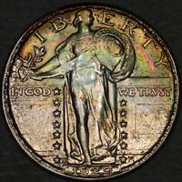 1929-S Standing Liberty Quarter 25C - Gem Uncirculated - Colorful Rainbow Toning