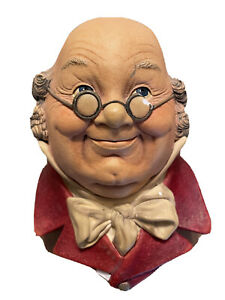 Vintage Bossons 'Mr. Pickwick' Chalkware Character Head Made in England 1964