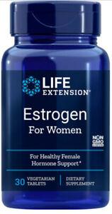 ESTROGEN FOR WOMEN FEMALE HORMONE 30 Vegetarian Tablet LIFE EXTENSION