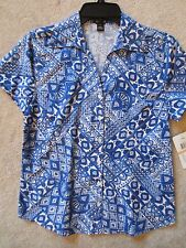 WOMENS ERIKA SHORT SLEEVE BLUE SHAPES BUTTON UP BLOUSE KNIT TOP SHIRT SMALL NWT