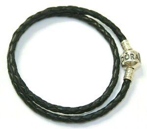 AUTHENTIC PANDORA BRACELET DOUBLE BRAIDED LEATHER BLACK #590705CBK