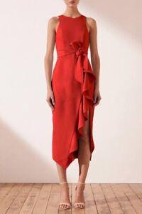 Shona joy - Ruffle Front Midi Dress -Red