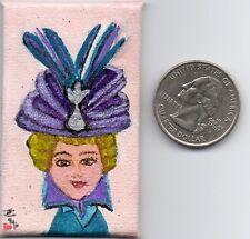 Doll house Room box 1.5in x2in Micro Mini Orig Art Canvas Acrylic girl Nova Hart