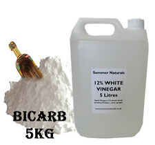 Bicarbonate of Soda 5KG And 12% White Vinegar 5 Litres - Cleaning And Garden