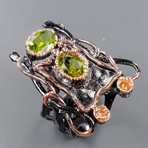 Handmade Design ring Peridot Ring Silver 925 Sterling  Size 7 /R153325