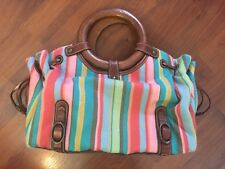 Fossil Canvas Leather Wood Handles Boho Bag Purse Striped Pink Blue Green Yellow