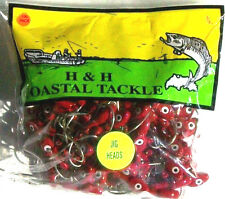 100 DOUBLE EYE 3/8 OZ RED SALTWATER JIG HEADS