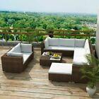 32pcs Rattan Patio Furniture Garden Lawn Cushioned Sofa Conversation Set Brown