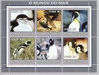 Mozambique 2002 MNH Penguins 6v M/S Penguin Birds Stamps