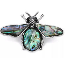 Bee Abalone Body and Wings Vintage Silver Pin Brooch D-6596