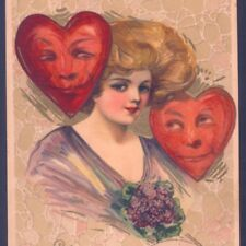 SCARCE.! SCHMUCKER VALENTINE'S DAY GLAMOUR LADY,HEART FACES,1910 WINSCH POSTCARD
