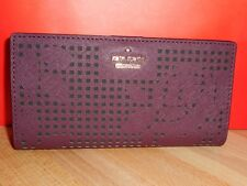 NWT KATE SPADE STACY CAMERON STREET PERFORATED  DEEPPLUM LEATHER WALLET $128