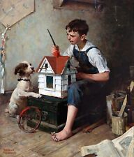 """Norman Rockwell, Painting Little House, Dog, puppy, Americana, 14""""x11"""" art"""