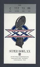 1985-86 SUPER BOWL XX TICKET STUB - CHICAGO BEARS vs NEW ENGLAND PATRIOTS