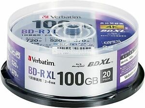 [Blu-ray Disc] Verbatim 20 Spindle 4X Speed BD-R XL White Printable 100GB