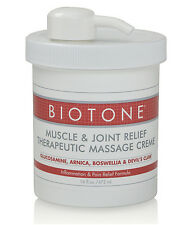 Biotone Muscle & Joint Therapeutic Massage Cream 16oz Refillable Pump Jar Creme