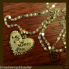 Best Mom Heart Pendant and Valentino Mirror Link Chain in 14k Solid Yellow Gold
