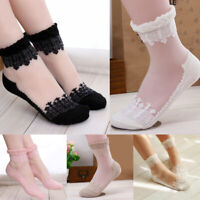 Women's Invisible Silk Socks Lovely Leisure Lace Transparent Crystal Silk Socks