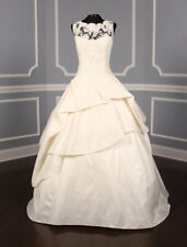 Kenneth Pool Ina K514 Ivory Size 10 Sheer Sleeveless Ball Gown Wedding Dress 10