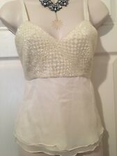 NWT SAKS FIFTH Ave HARRISON MORGAN Ivory SILK Sequins Beads Cami Top Womens S