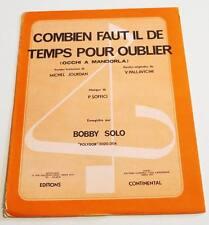 Partition sheet music BOBBY SOLO : Combien Faut-il de temps pour Oublier * 70's