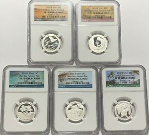 2020 S PROOF SILVER QUARTER SET NGC PF70 5 COIN SET ATB PARKS .999 FINE 25C