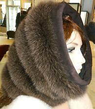 BROWN BLUE PURPLE FOX FUR HOOD COLLAR TUBE HAT NECK WARMER  SUEDE TRIM ONE SIZE