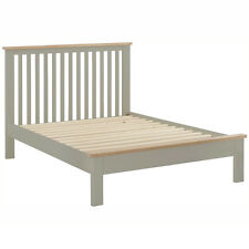 Padstow Grey Painted 5ft Double Bed Frame / Solid Wood Kingsize Bed / Oak
