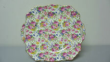 "BEAUTIFUL ROYAL WINTON ""SUMMERTIME"" CHINTZ 11"" CAKE PLATE, GOLD TRIM c.1932-1960"