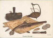 VINTAGE SHOE MOLD GREASE LAMP FLINTLOCK PISTOL ARROW HEADS NOTE CARD ART PRINT