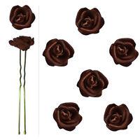 6 épingles pics cheveux chignon mariage mariée danse roses satin marron chocolat