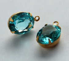 VINTAGE FACETED GLASS OVAL PENDANT BEADS BRASS • 12x10mm • TOPAZ, AQUA OPEN BACK