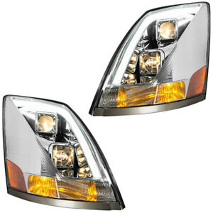 grand general volvo vn/vnl chrome projector headlights sold in pairs w/white led