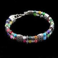 wholesale!Tibet silver multicolor jade turquoise bead bracelet AAA