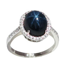 FANTASTIC 5 CT GENUINE AFRICAN STAR SAPPHIRE 925 STERLING SILVER RING SIZE 5-10