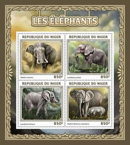 Niger 2016 MNH Elephants 4v M/S Wild Animals Stamps