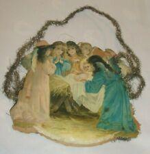 Antique Victorian Scrap Christmas Ornament Manger Scene Baby Jesus Angels Tinsel