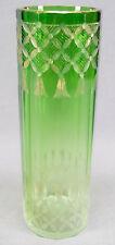 Moser Emerald Fading to Light Green & Intaglio Engraved & Gold Tassels Vase